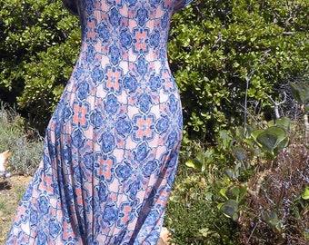 Long blue vintage maxi dress, orange dress,  stretch dress, sun dress, size uk 22-24, usa 20-22, beach dress, boho dress, summer dress