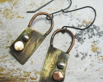 Rustic Mixed Metal Earrings - Gift for Her - Industrial Chic