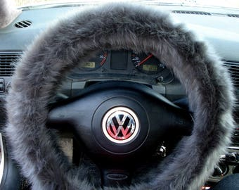 Grey Fuzzy Steering Wheel Cover, Car accesories, Furry Steering Wheel, Faux Fur Steering Wheel Cover