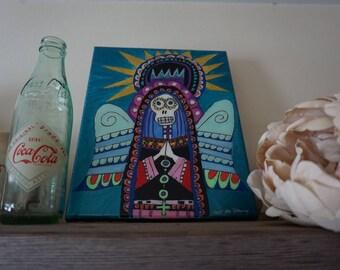 Acrylic On Canvas. High Gloss Finish. Mary blue. 8x10