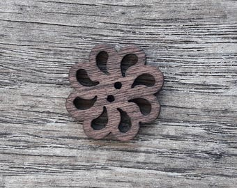 Set of 5 wooden buttons, Openwork, design, flower, 20 mm