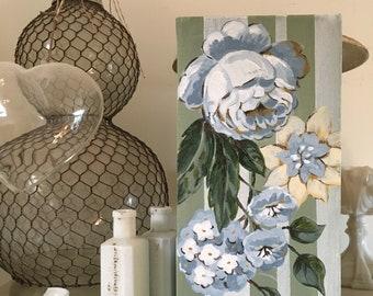 Vintage SANDERSON STRIPE Rose #2 - Original Painting on Canvas FLOWERS shabby chic