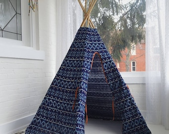 Navy Tribal Knit Teepee