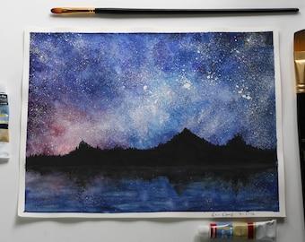 Original Watercolor Starry Sky