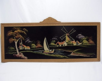 Black Velvet Painting Scenic Riverscape Sailboat Windmill & Church