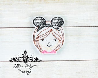 Girl Mouse Ear feltie design ITH embroidery design file