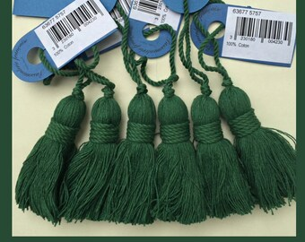 Set of 6 sotton thread tassel, 6 inches, forest green