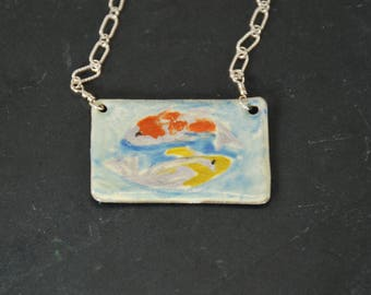 Koi pond hand painted torch-fired enamel pendant