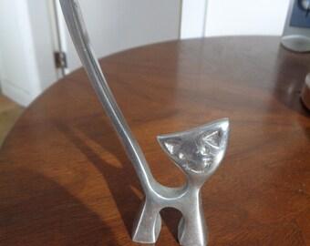 Small Vintage Cast Aluminum Sculpture of a Cat