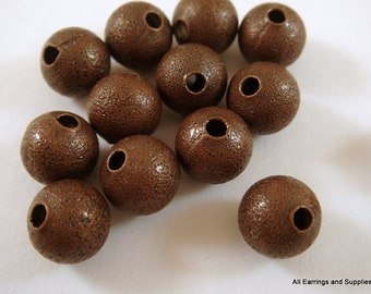 25 Antique Copper Stardust Beads 8mm Round Brass 1mm hole NF - 25 pc - M7033-AC25