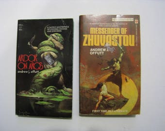 2 vintage SciFi novels by Andrew J Offutt, 1973. Ardor on Arus and Messenger of Zhuvastou. Science fiction adventure books