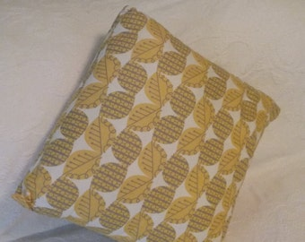 Decorative Pillow gold and gray leaf pattern on white background