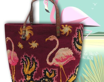 French Tapestry Handbag, Canvas Purse, Pink Flamingoes : Le Prune