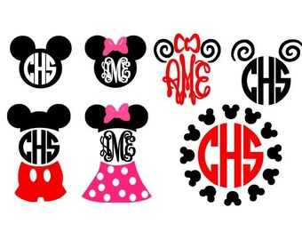 Mouse Ears Set instant download cut file for cutting machines - SVG DXF EPS ps studio3 studio (monogram fonts sold separately)
