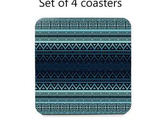Tribal coaster set, drink coasters, set of 4, blue ombre table coasters, cork back coasters, table decor, hostess gift, home decor