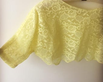 Vintage 60s Yellow Lace Bolero Shrug medium