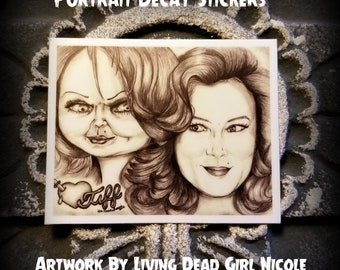 """Portrait Art Sticker : """"Barbie... Eat Your Heart Out"""" - Jennifer Tilly Tiffany Tiff Bride Of Chucky Child's Play"""