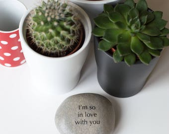 pebble gift. I'm so in love with you. valentine gift. quote pebble. romantic gift. beach pebble.