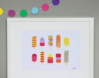 Ice Lollies Collage Print | Ice Lollies Wall Art | Ice Cream | Ice Lolly Art | Nursery Illustration | Popsicle Print | Summer Art | Kids Art