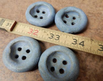 4  large stoneware pottery clay buttons… with a dusty blue matte glaze..