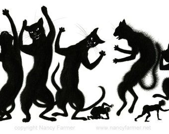 """Art print: """"Noisy Guests arrived, and scared the Pets"""" - sillhouette of huge cats and tiny humans"""