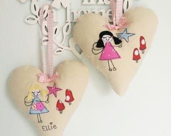 Customisable childrens  free motion machine embroidery decorative heart