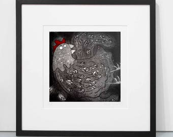 Squawk - original chicken print, hen print, chicken art print, chicken etching print, limited edition of 150 chicken etching art unframed