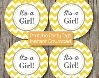 It's a Girl Printable Baby Shower Cupcake Toppers Yellow Grey Chevron Stickers Favor Tags Labels INSTANT DOWNLOAD diy Decorations 151