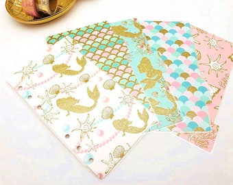 Glitter Little Mermaid : Set of 5 Planner dividers ~ Personal, Personal Wide, Pocket size. Planner dividers and dashboard