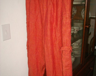 FLAX Lithuania Large Capri Cargo Flood Pants Orange Linen
