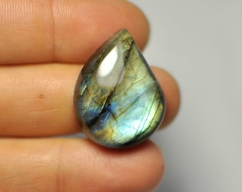 Natural Blue Gold Flash Labradorite Cabochon Gemstone Pear shape Pendant size. 29x22x9 mm. 39.50 Cts. G40