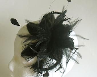 black feather clip - black fascinator - black wedding hair piece