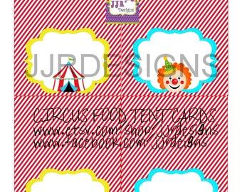 Instant Download- Menu Card Circus Tent Label-Misc Blank Label- Carnivale Tent Label- Circus Food Label-Circus Menu Card