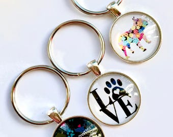 Pet Lover Keyrings, Paw Print Keyring, Frenchie Keyring, Cat Lover Keyring, Cat Keyring, Dog Keyring, Cat Lover Gift, Dog Lover Gift