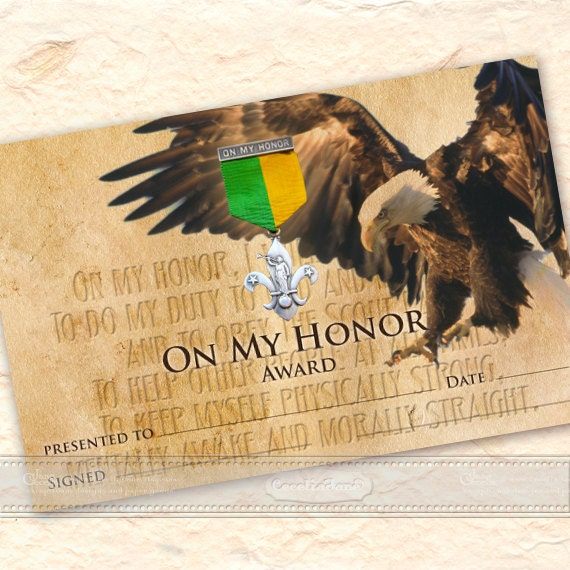 Eagle Scout On My Honor Award certificate, Eagle Scout certificate, On My Honor Certificate 5x7, Boy Scouts of America, BSA, IN538