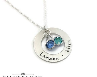 Hand Stamped Sterling Silver Mother's Necklace with Two Names & Birthstones
