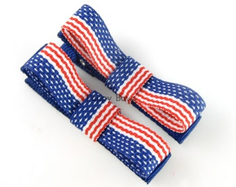 Small Hair Clips - American Flag Hair Clips - Baby hair clips - toddler hair clips - girls hair clips - matching pair tuxedo bow july 4th