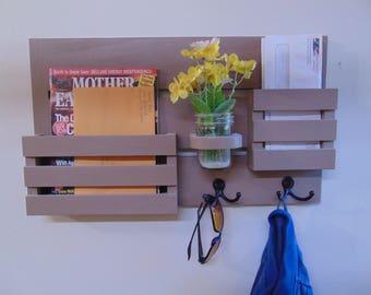 Magazine Holder - Mail Organizer - Wood - Wall Hanging - Mail Holder - Key Hooks - EntryWay Organizer - Coat Hooks - Jar