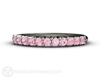 14K Baby Pink Sapphire Band Light Pink Sapphire Ring Anniversary Band Wedding Ring