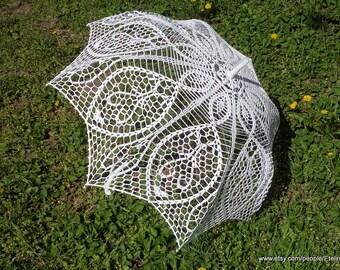 Crochet White Umbrella,  Wedding Victorian Umbrella, Bridal  Romantic, Photo Session Sunshade Summer, Wedding White Elegant Lace Parasol