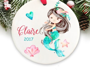 Personalized Christmas Ornament Personalized Keepsake Ornament Mermaid Ornament GIFT BOX  Included