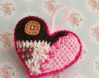 Crochet pattern - patchwork  heart ornament, DIY, pendant