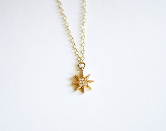 Gold CZ Star Necklace-gold necklace, gold star necklace, dainty necklace, layering necklace, star jewelry, layering necklace