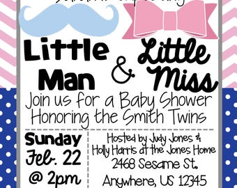 Twins Little Man & Little Miss Pink and Blue Baby Shower Invitation