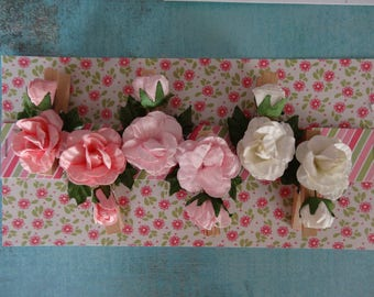 6 mini clothepins with flowers - 6 mini clips linen with flowers