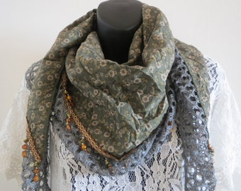 Floral Triangle Scarves with Tassels Dark Green Color