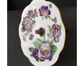 Antique Porcelain Plate Curtain Tieback- Violets