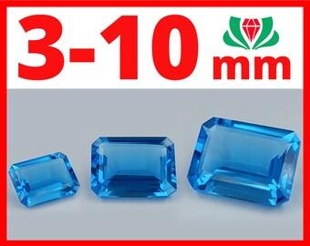 Swiss topaz Octagon, 3-10mm, Natural Swiss Topaz, Swiss Blue Topaz, Swiss Topaz, Natural Swiss Blue Topaz, Blue Topaz Swiss