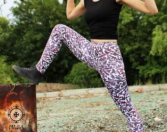 Retro Gamer Leggins, Video Game, Guns, pixel art, guns , pattern leggins, metal slug, yoga leggins, yoga pants