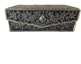 Antique Ottoman-silver and Velvet  Box